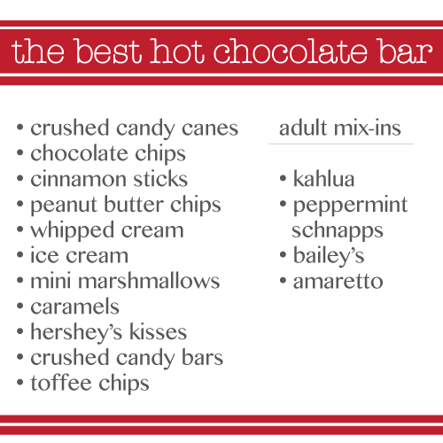 image of hot chocolate bar checklist