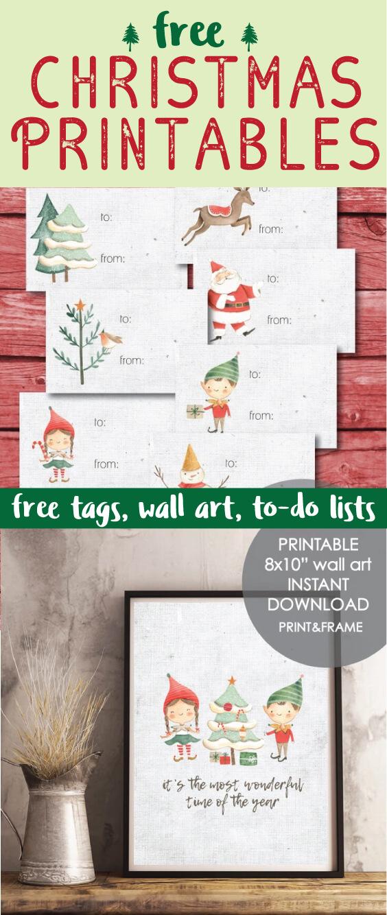 Free Christmas Printables - gift tags, wall art, holiday to-do lists
