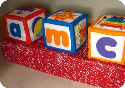 image of cute and colorful baby blocks cake