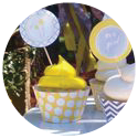 image of yellow dandelion theme for a baby shower