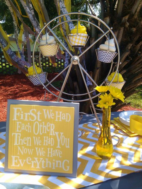 picture of yellow dandelion baby shower sign