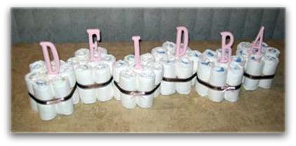 image of a diaper cake centerpiece
