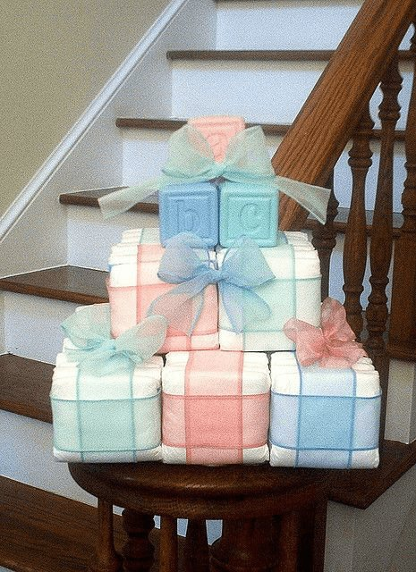 image of baby blocks centerpiece ideas
