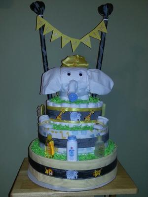 DIY Elephant Baby Shower Diaper Cake picture