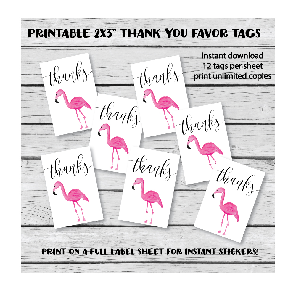 image of flamingo thank you tags