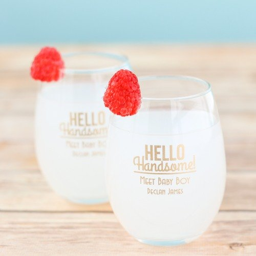 hello handsome boy baby shower favor ideas - wine glasses