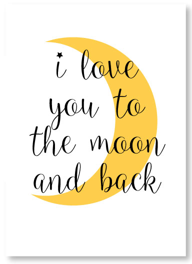 I love you to the moon and back printable wall art picture