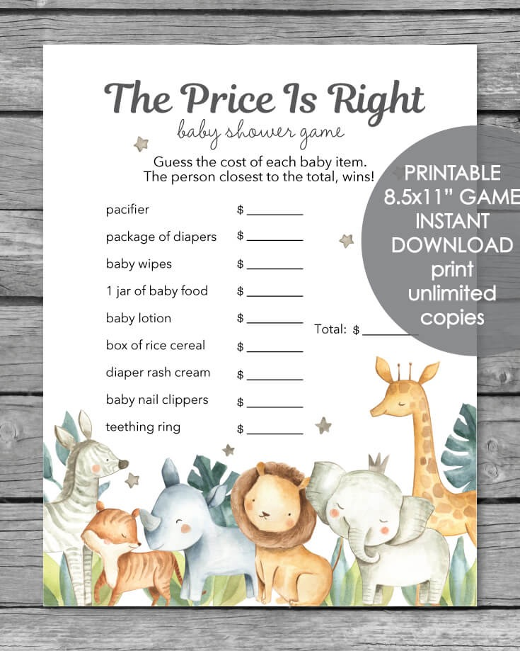 PrintItBaby.com printable safari price is right baby shower game