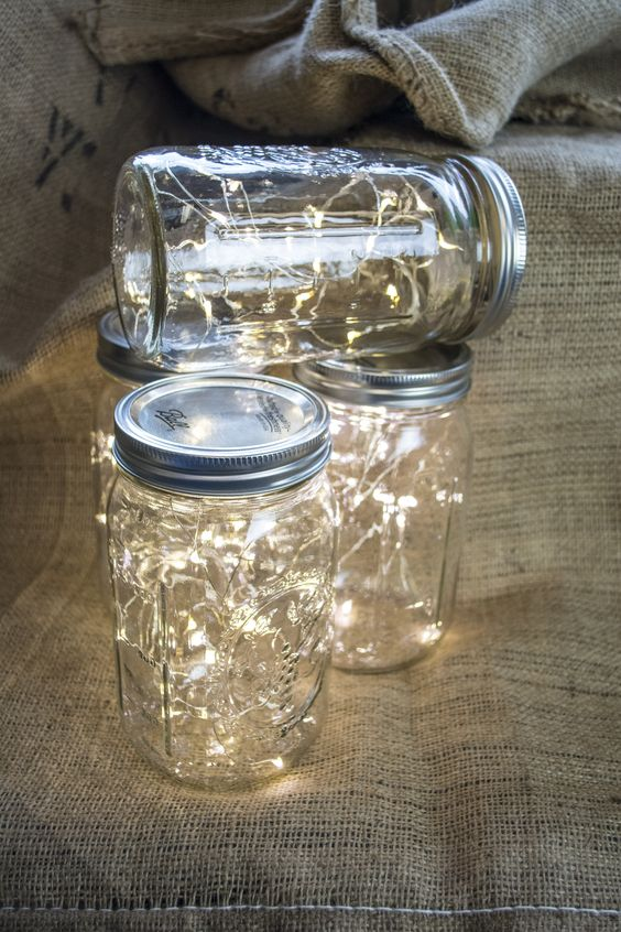 Image Of Fairy Lights In A Mason Jar