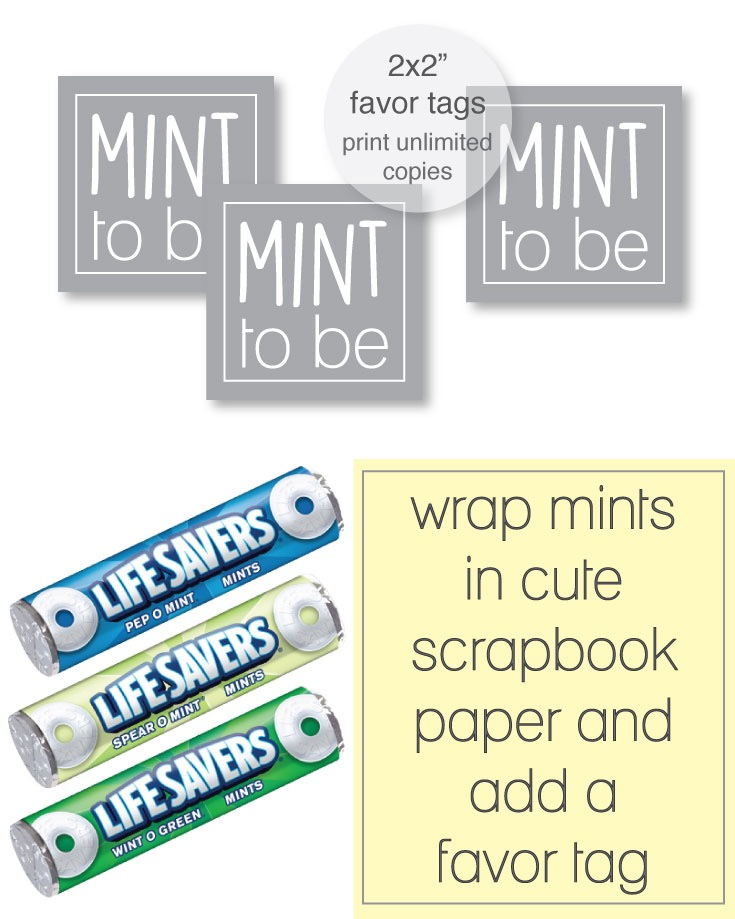 free printable mint to be tags for a bridal shower