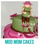 banner of mod mom cakes for a baby shower