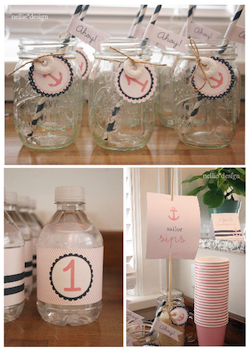 image of a nautical baby shower for a girl