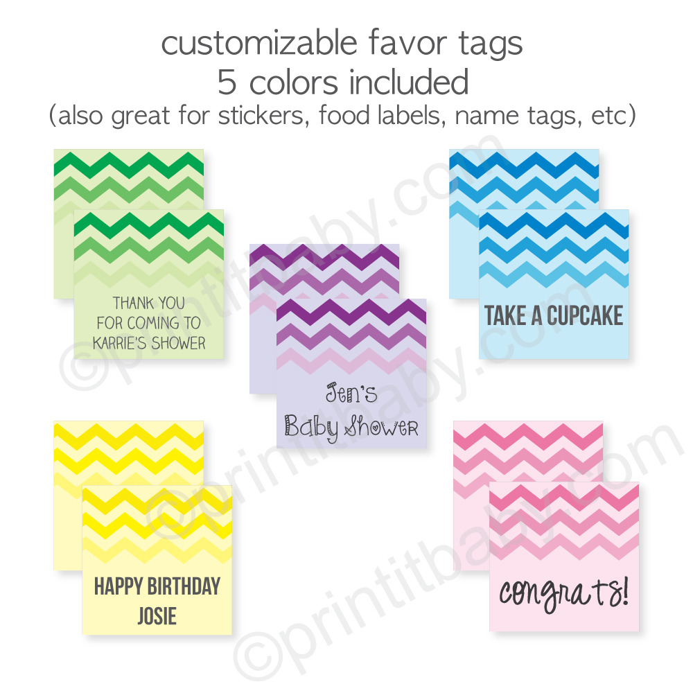 Image of printable chevron favor tags and labels