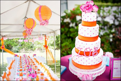 pink and orange baby shower image
