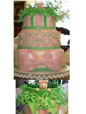 picture of a 3 tier pea in a pod baby shower cake