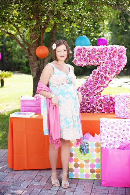 pink and orange baby shower picture