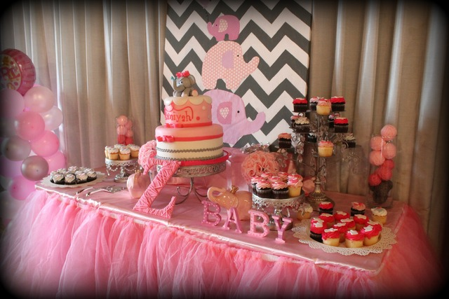 picture of a dessert table at a pink elephant baby shower