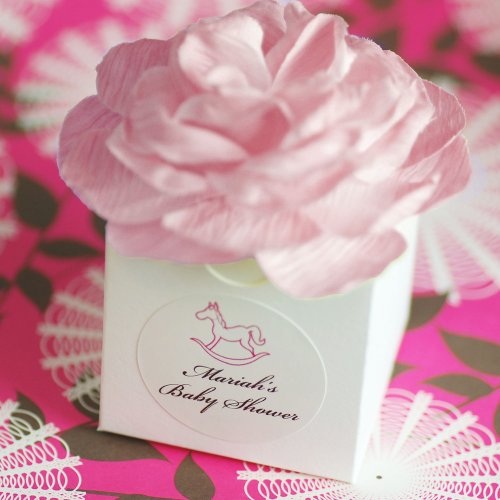 pink baby shower flower favor boxes