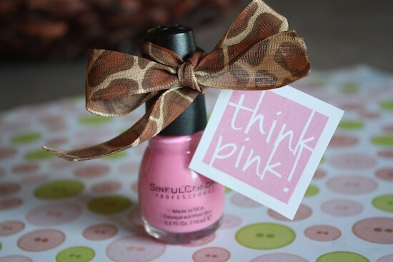 pink baby shower favor tag image