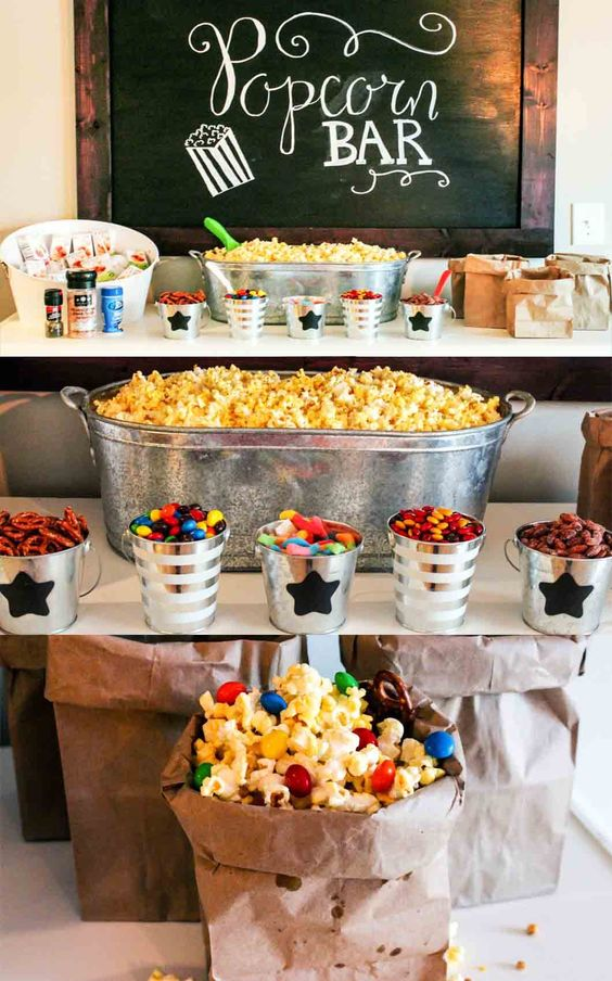 image of a baby shower popcorn bar - about to pop theme