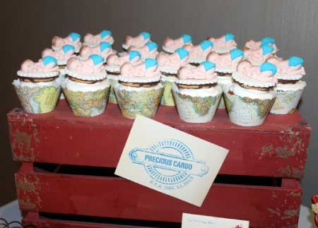 image of airplane baby shower cupcakes