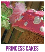 Banner of princess and fairy baby shower cakes