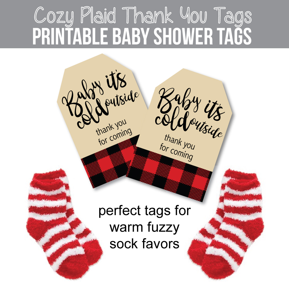 Image of Buffalo Plaid Baby Shower Favor Tags