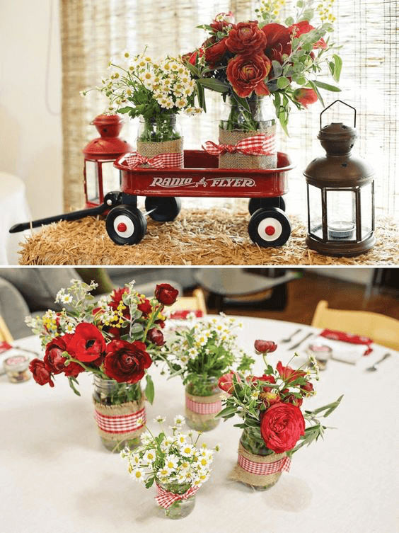 wagon baby shower centerpiece image