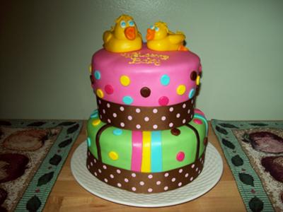 colorful Duck Baby Shower Cake picture