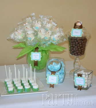 picture of a jungle baby shower dessert table
