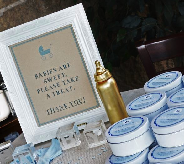 picture of blue and gold favors for a baby shower
