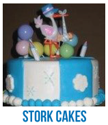banner of stork baby shower cakes