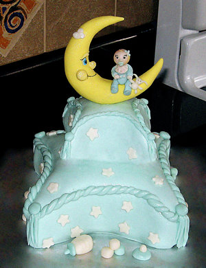 image of a moon and stars baby shower cake