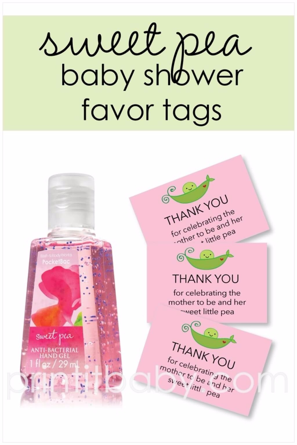 printable pink sweet pea in a pod baby shower favor tags