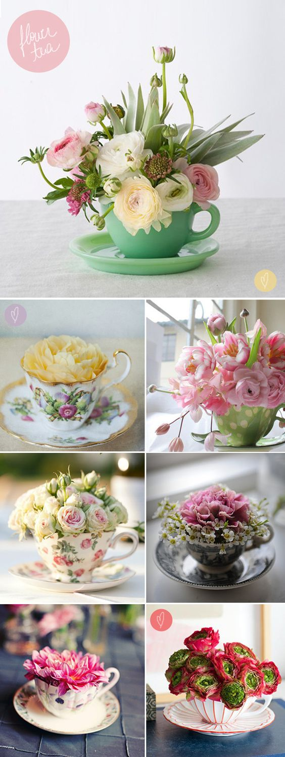 image of tea cup flower arrangement