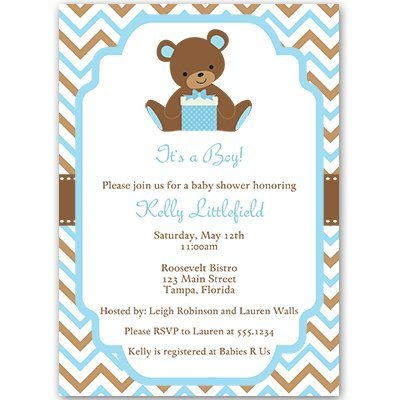 picture of blue teddy bear baby shower invitations
