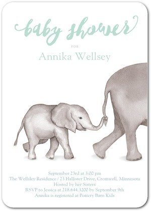 image of a tinyprints.com elephant baby shower invitation