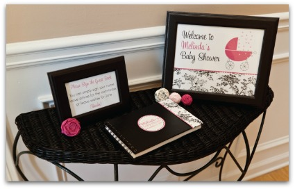 image of a cute pink baby shower table