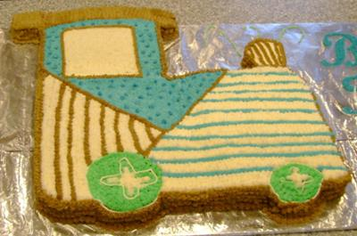 image of a train caboose cake for a baby shower