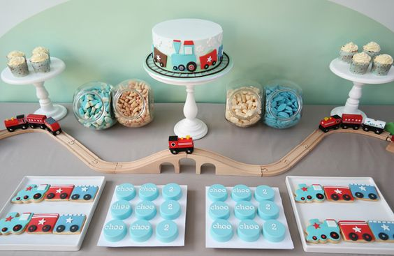 train dessert table banner