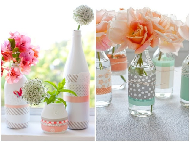 picture of polka dot vases for a baby shower