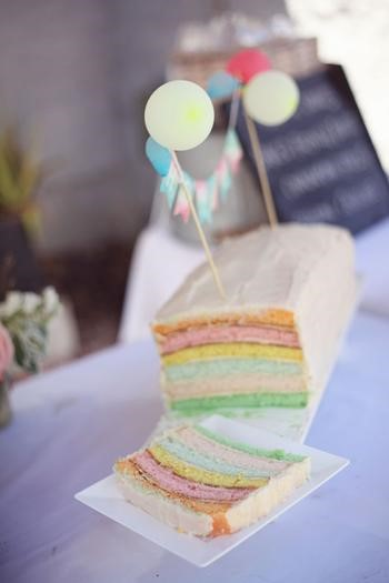 image of watercolor baby shower cake
