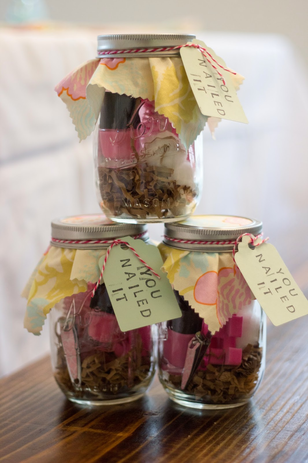 Image Of Baby Shower Prize Manicure Sets In Mason Jars