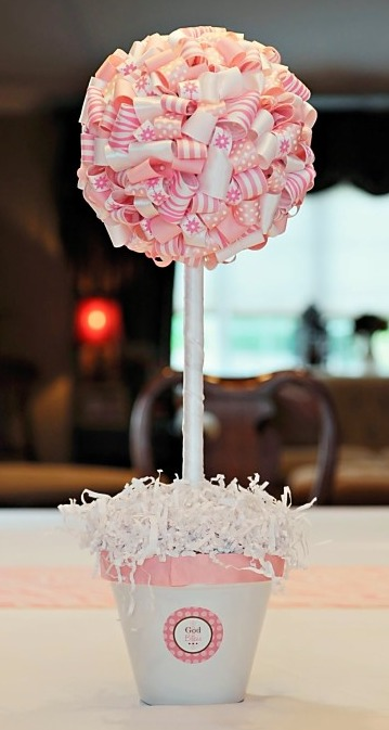 image of pink zebra baby shower topiary
