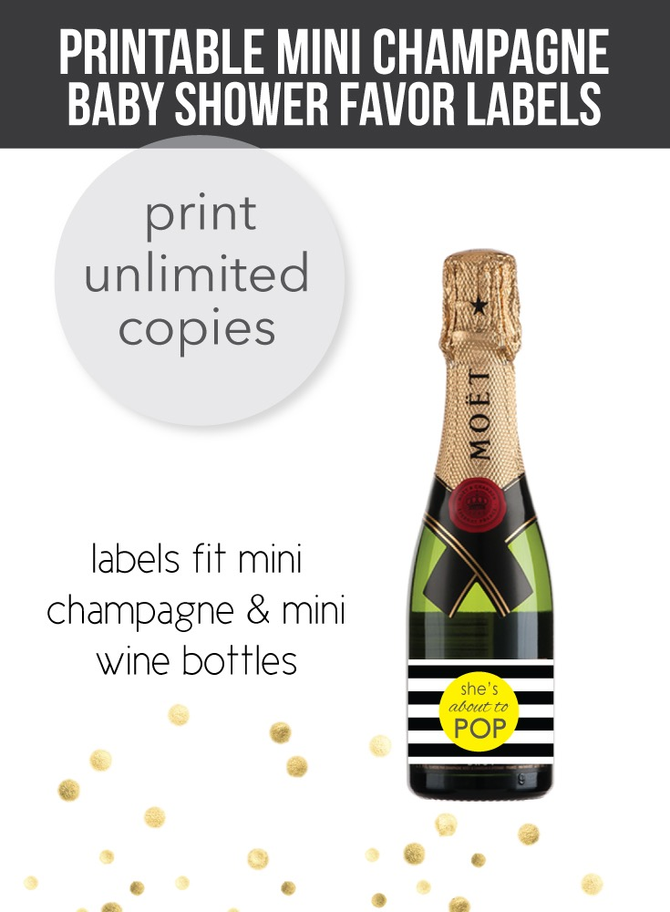 printable yellow champagne baby shower labels