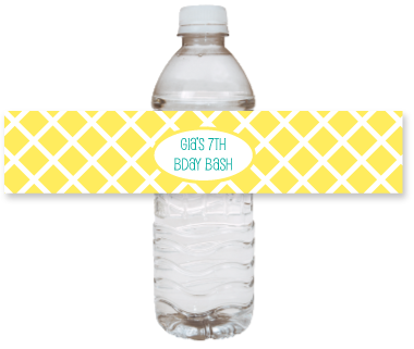 picture of printable yellow water bottle labels
