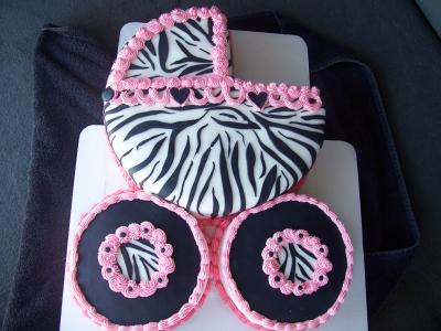 Zebra Baby Carriage Cake
