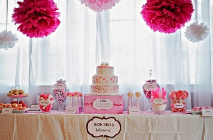 image of a zebra baby shower dessert table